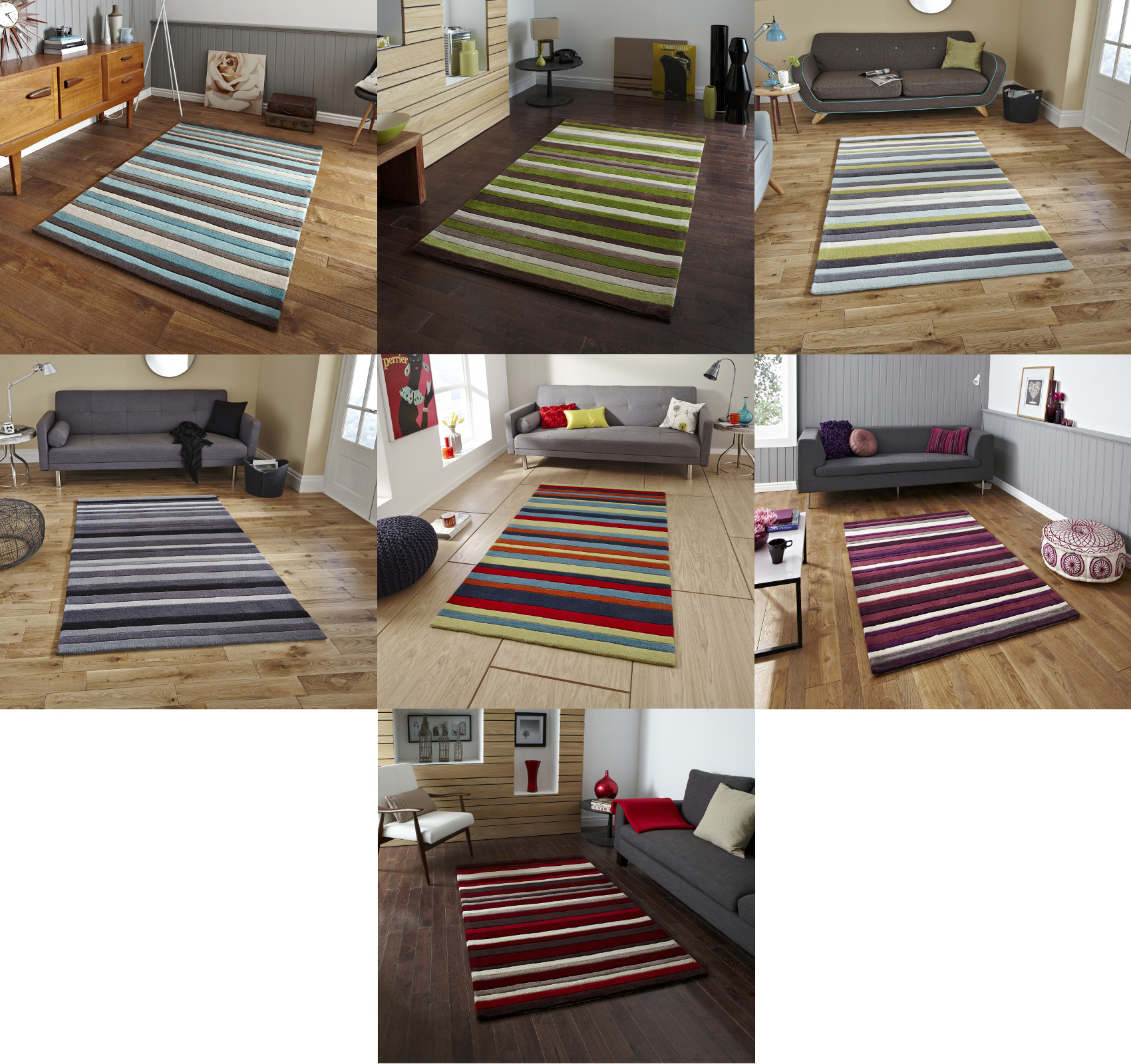 Hong Kong Hand Tufted Large Modern Rug Striped Design Acrylic Home Decor Mat