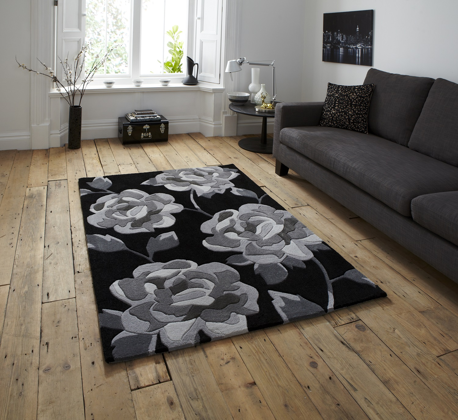 Hand Tufted Large Contemporary Floor Rug Floral Design
