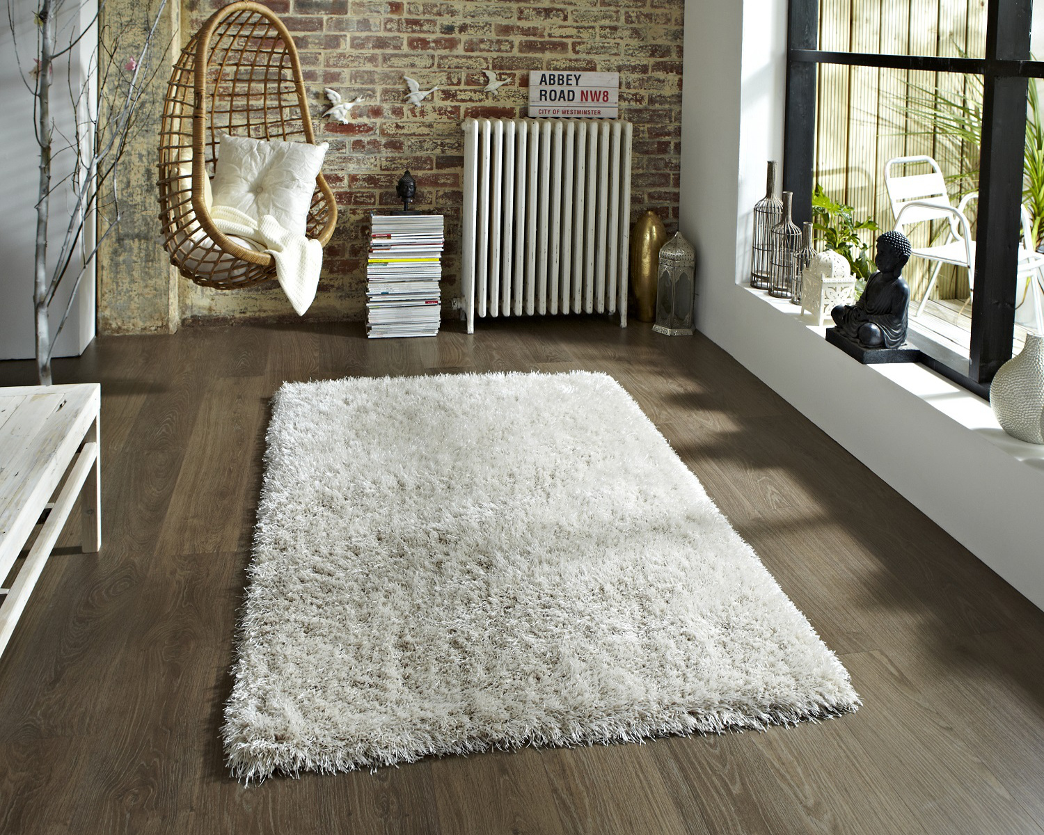 Super Soft Monte Carlo Shaggy Pile Rug Hand Tufted Floor Mat Large