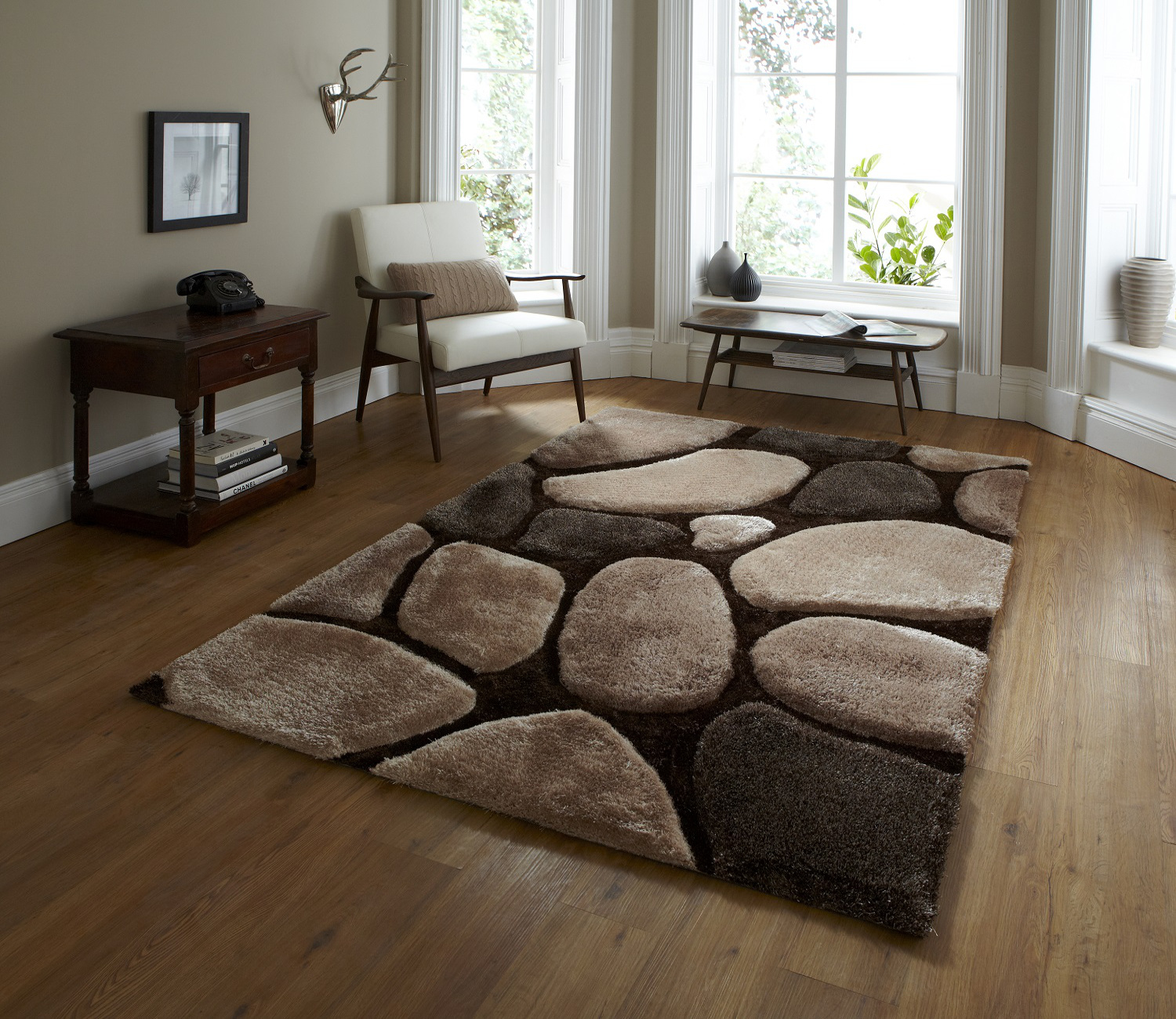 Hand tufted super soft pebble effect rug noble house for Living room carpet