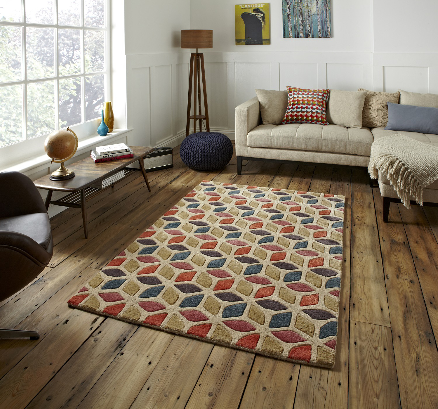 Fusion Geometric Design Hand Tufted Soft Wool Viscose Rug