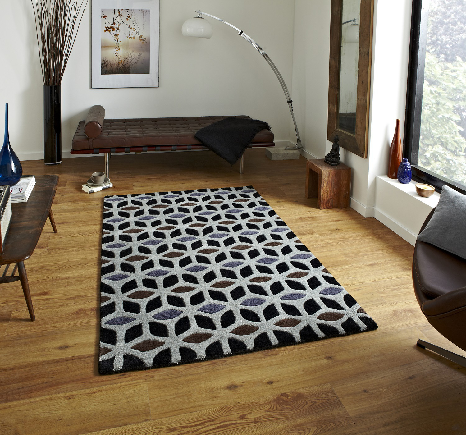 Fusion Geometric Design Hand Tufted Soft Wool Amp
