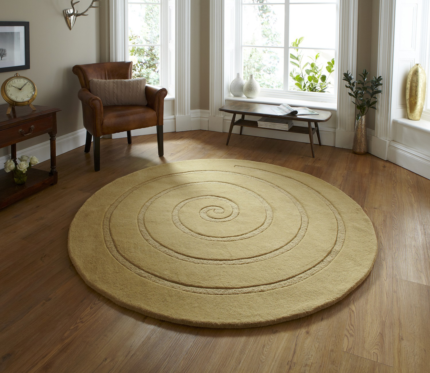 Spiral hand tufted 100 wool circular rug modern textured for Designer floor rugs