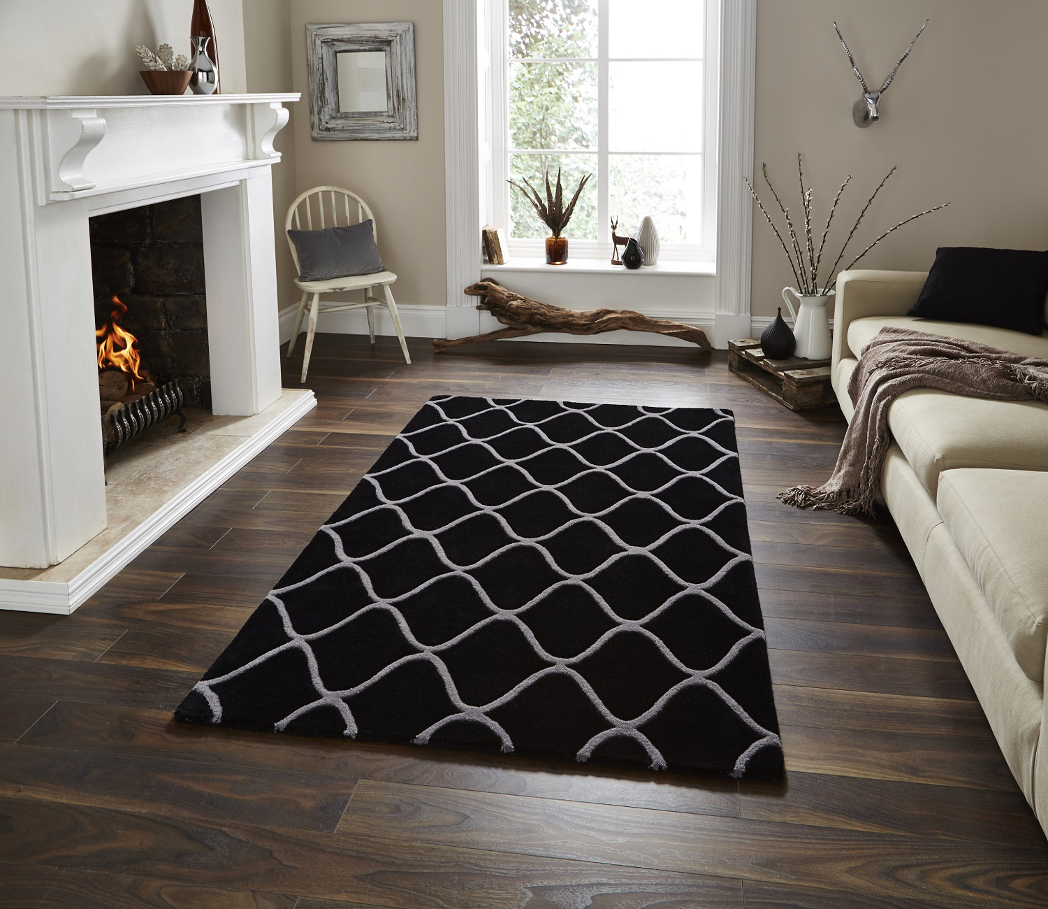 Black And White Rug Ebay Uk: Wave Design Hand Tufted 100% Wool Rug Contemporary Home