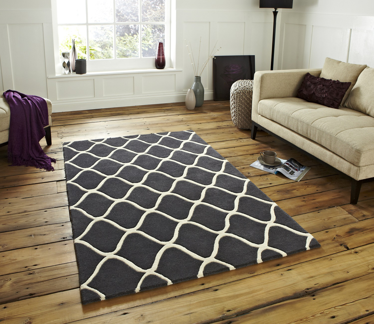 wave design hand tufted 100% wool rug contemporary home decor