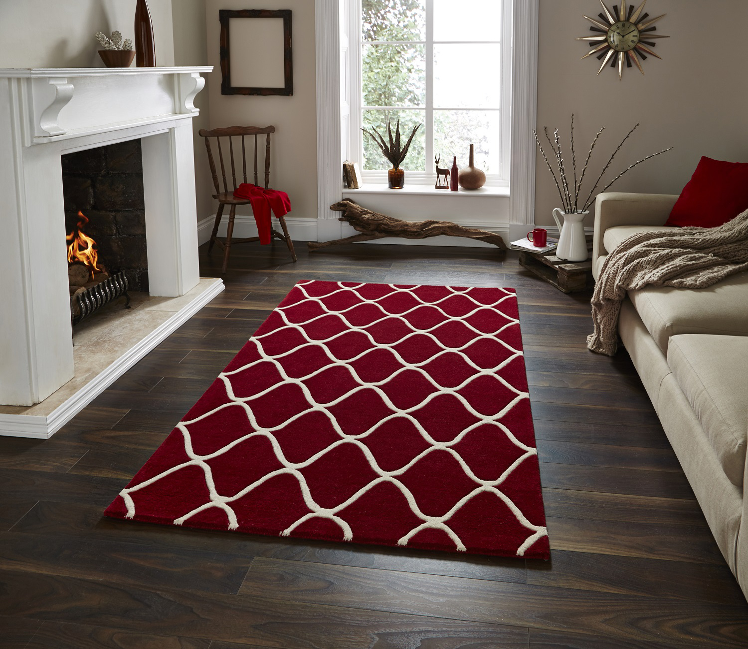 Wave design hand tufted 100 wool rug contemporary home for Modern decorative items for home