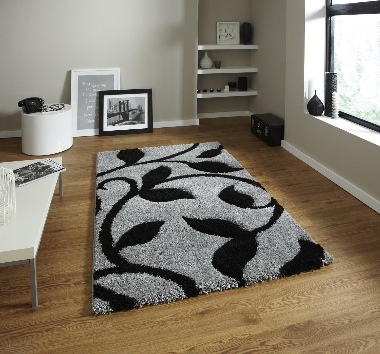 Black And White Rug Ebay Uk: Decorative Large Hand Carved Leaf Pattern Floor Rug