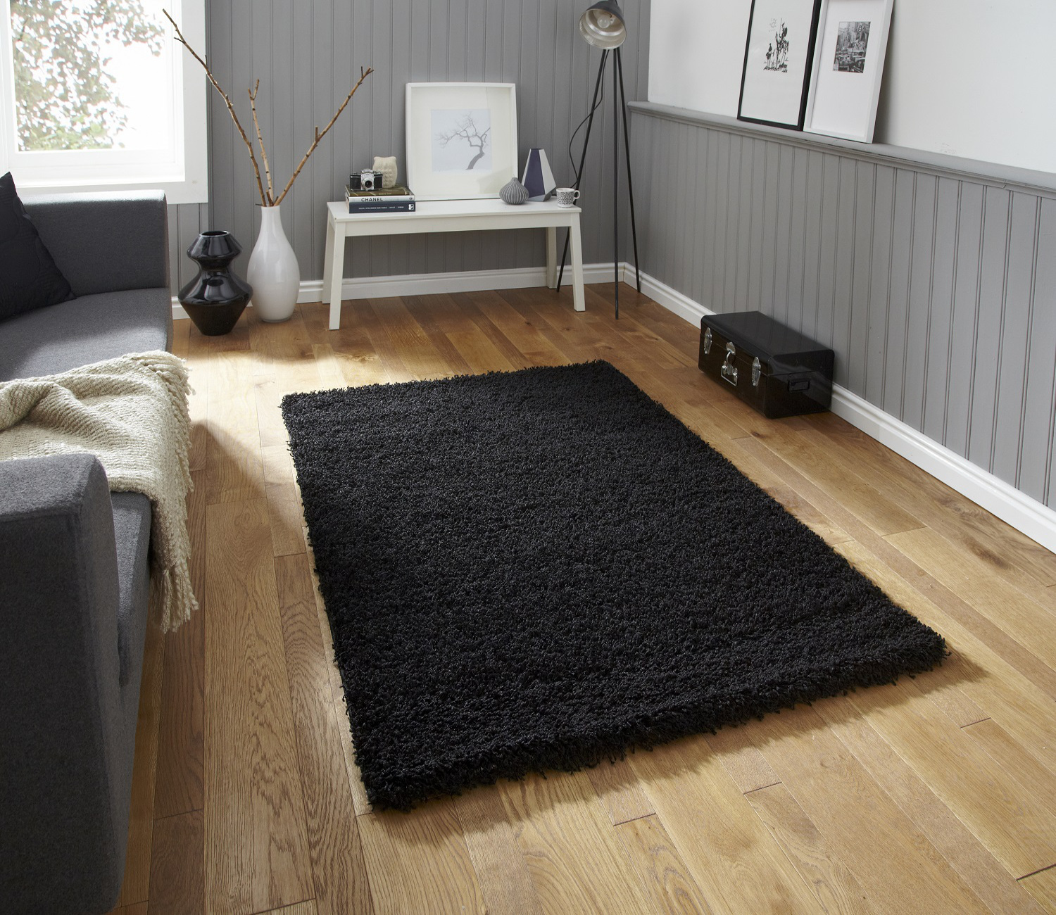 Modern Plain Shaggy 5cm Pile Rug Vista Machine