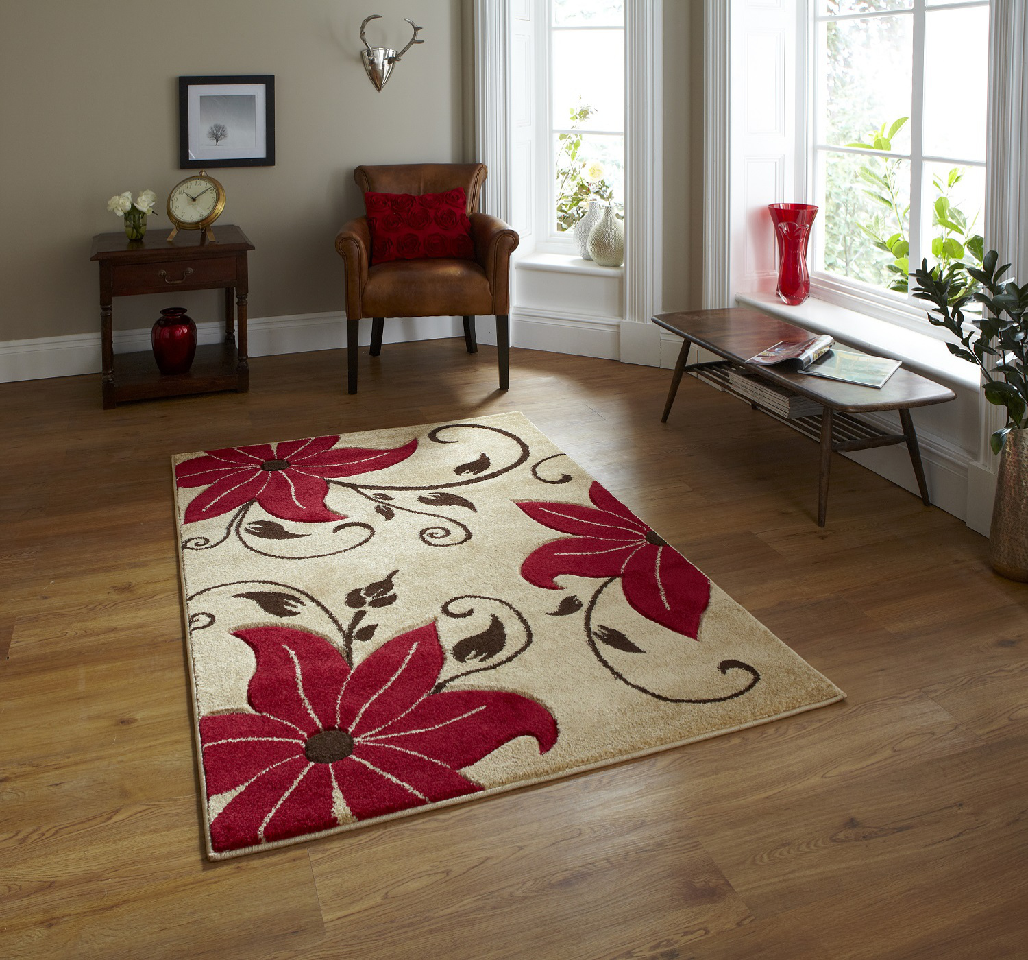 Vintage Effect Rug: Hand Carved Effect Floral Design Rug Verona Large Floor