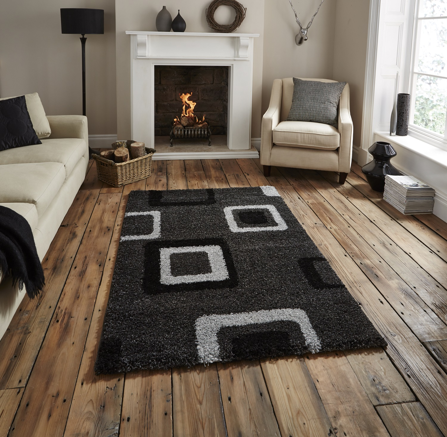 Home Furniture Rugs: Bold Contemporary Floor Rug Decorative Multi Tone Square