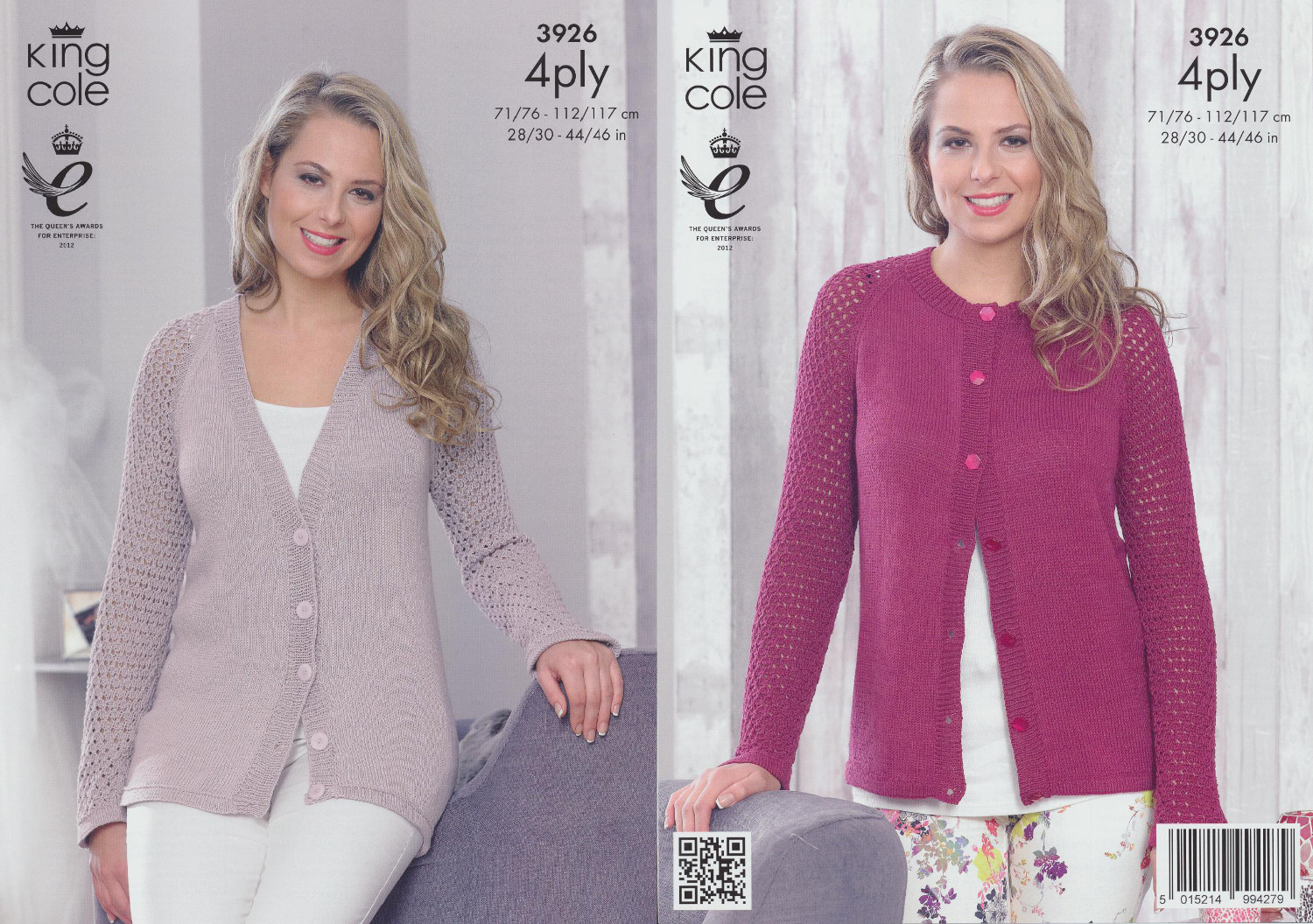4 Ply Knitting Patterns Free Ladies : Ladies 4PLY Knitting Pattern King Cole Womens Knit Long Sleeved Cardigans 392...