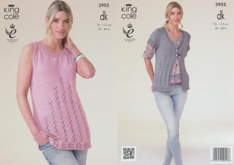 Knitting Pattern Cardigan Short Sleeve : Double Knitting Pattern Sleeveless Top & Short Sleeve ...