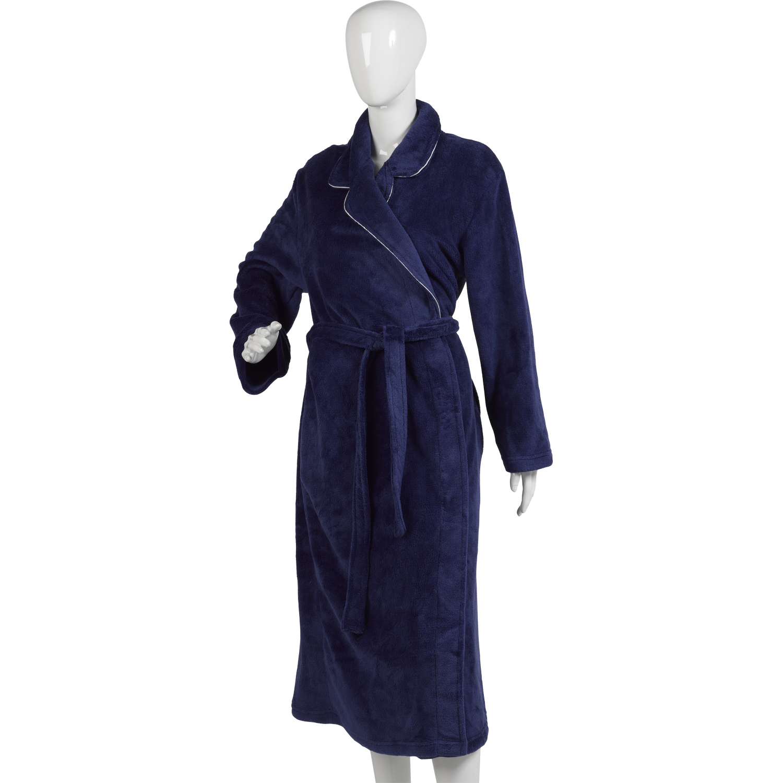 femme uni bordure en satin robe de chambre femme luxe corail polaire peignoir ebay. Black Bedroom Furniture Sets. Home Design Ideas