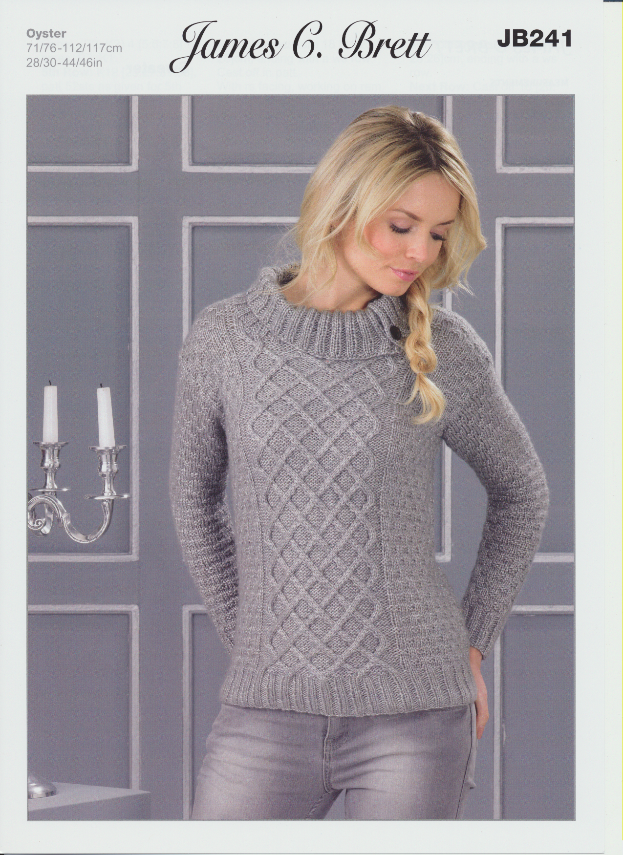 Knitting Pattern Roll Neck Jumper : Oyster Aran Knitting Pattern Womens Round Roll Neck Jumper Ribbed Sweater JB2...