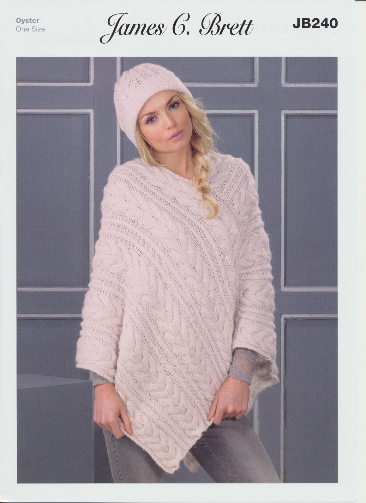 Oyster Aran Knitting Pattern Womens Cable Knit Poncho And Hat JB240 eBay