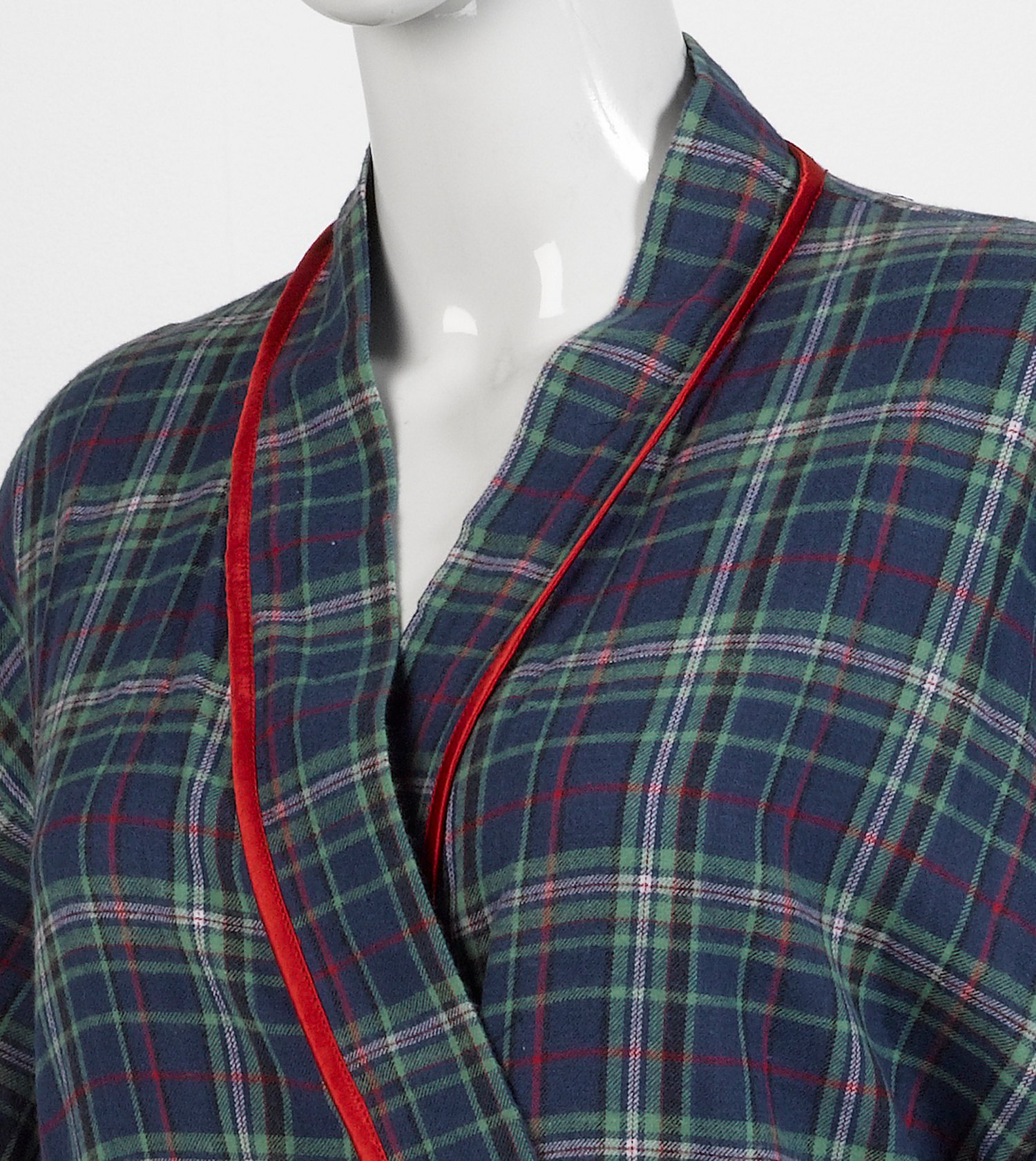 Ladies Lightweight Tartan Dressing Gown Womens Combed Cotton ...