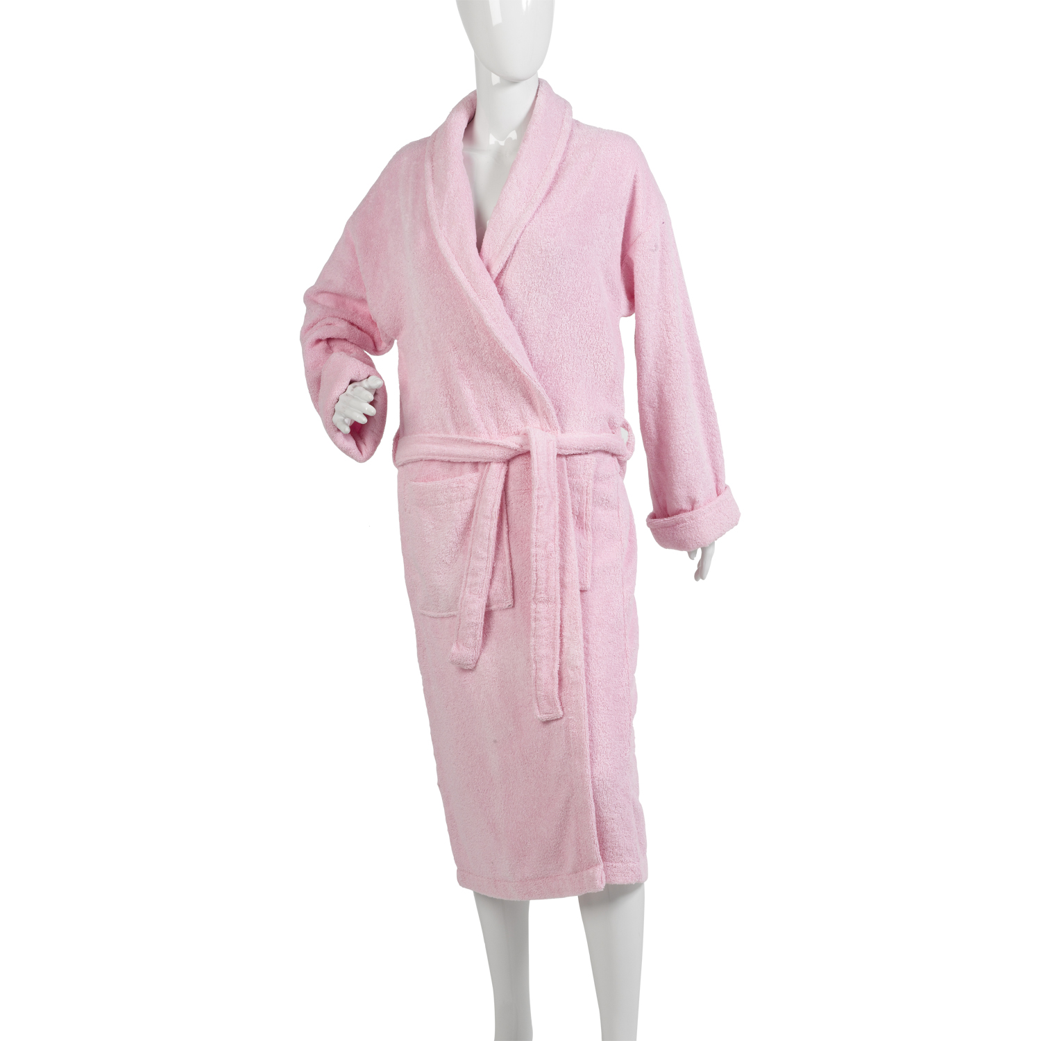 Ladies 100% Cotton Towelling Bathrobe Womens Plain Nightwear Wrap ...