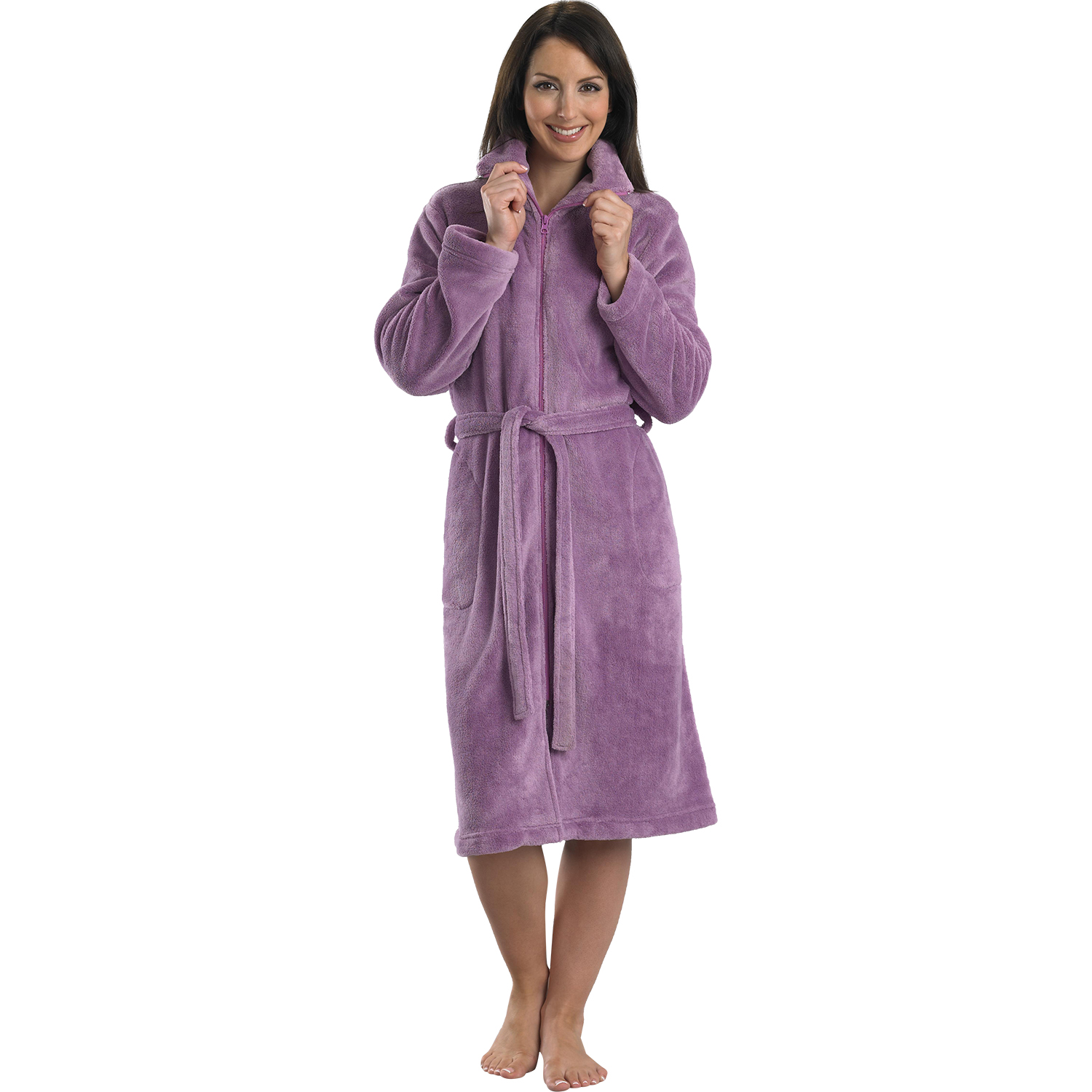 Bathrobe: Womens Luxury Gift Wrapped Zip Bathrobe Ladies Slenderella