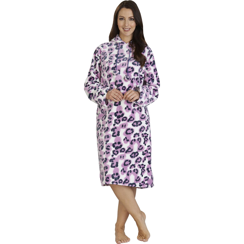 Womens Slenderella Animal Print Pullover Hooded Soft Polar Fleece Robe with Hood