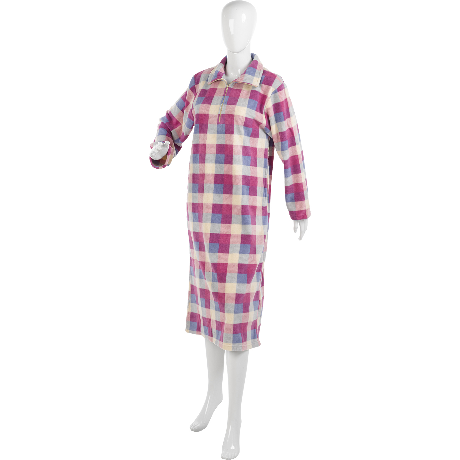 Long Sleeve soft fleece nightdress with really pretty embroidery. 3 button opening, comfortable fit. Ladies Long Sleeve Soft FleeceNightie. Sizes , , ,