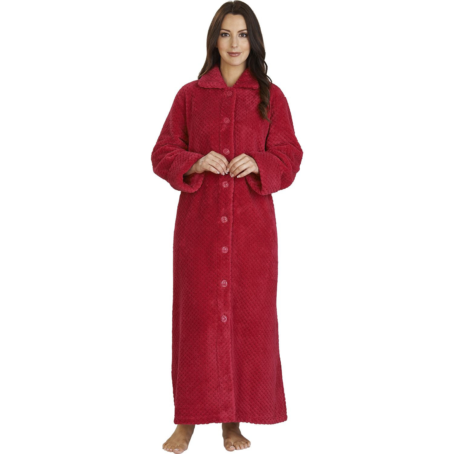 Womens Soft Waffle Fleece Dressing Gown Slenderella Button Up ...