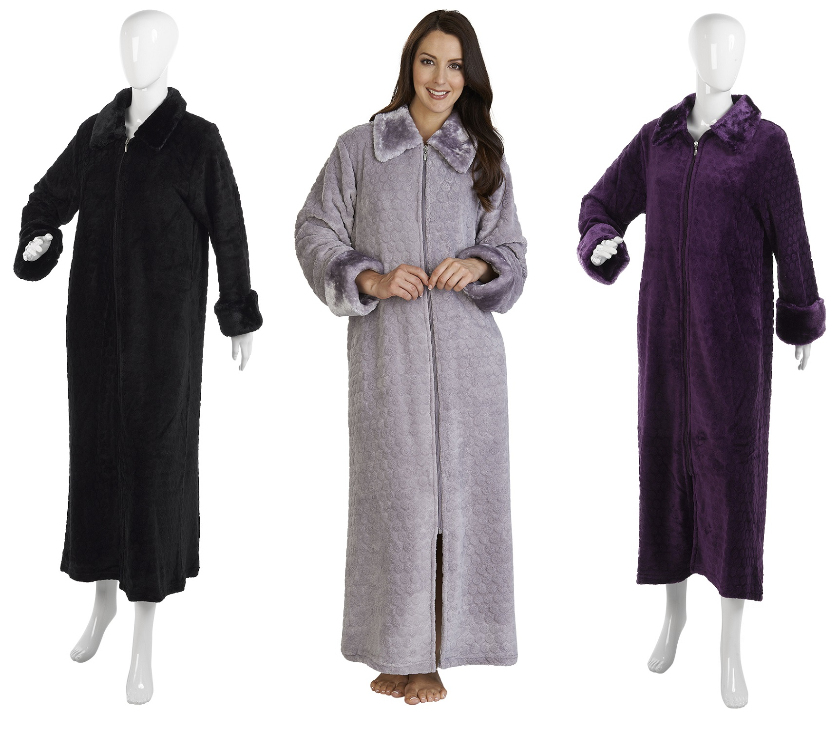 Ladies Slenderella Faux Fur Collar Bathrobe Ankle Length Zip Up ...