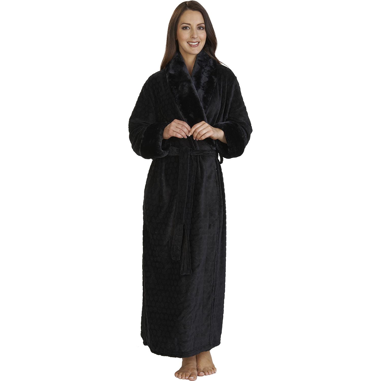 slenderella soft fleece wrap dressing gown ladies faux fur shawl collar bathrobe ebay. Black Bedroom Furniture Sets. Home Design Ideas