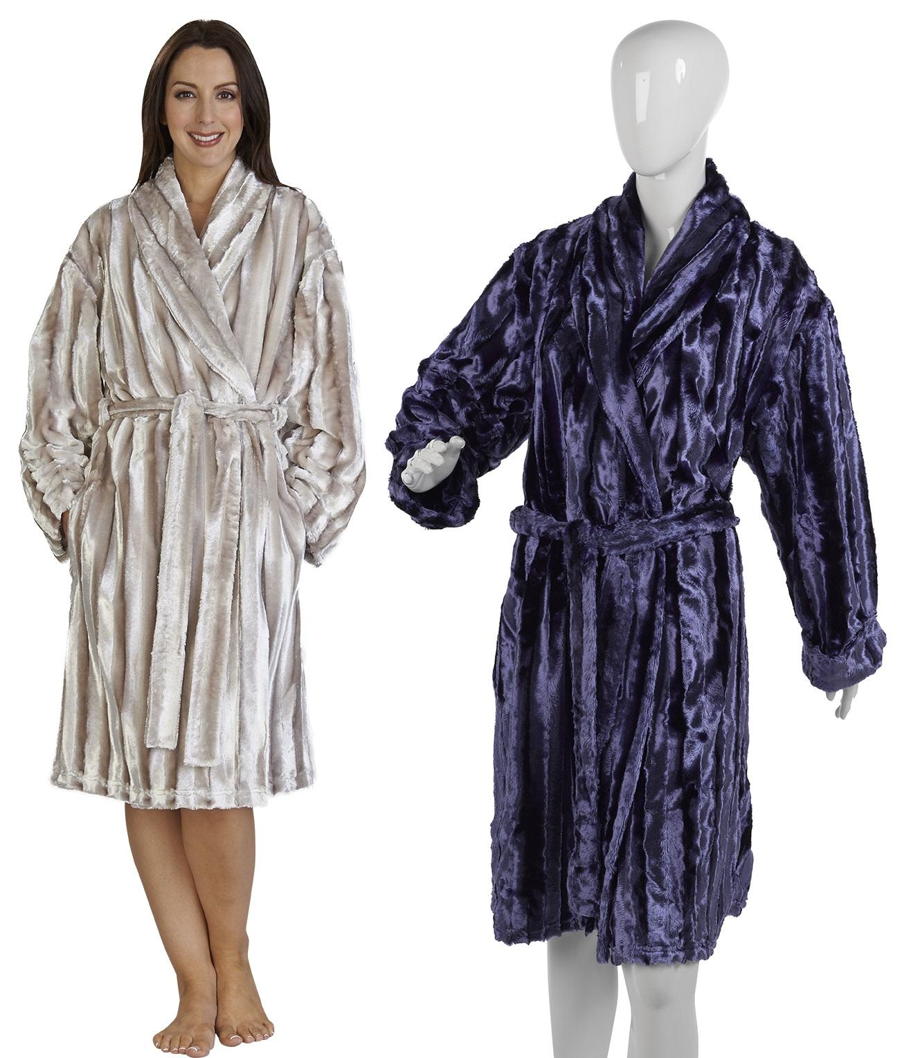 Womens Luxury Faux Fur Dressing Gown Slenderella Shawl Collar Wrap ...