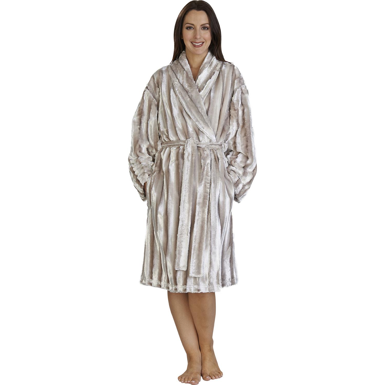 521f625eab Womens Luxury Faux Fur Dressing Gown Slenderella Shawl Collar Wrap ...