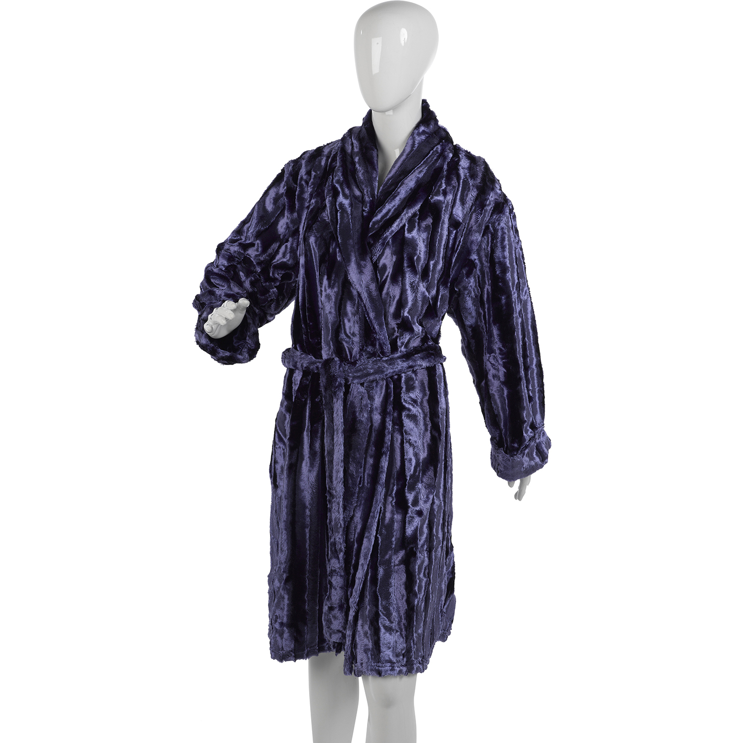 Ladies Slenderella Faux Fur Robe Wrap Around Luxury Satin Lined ...
