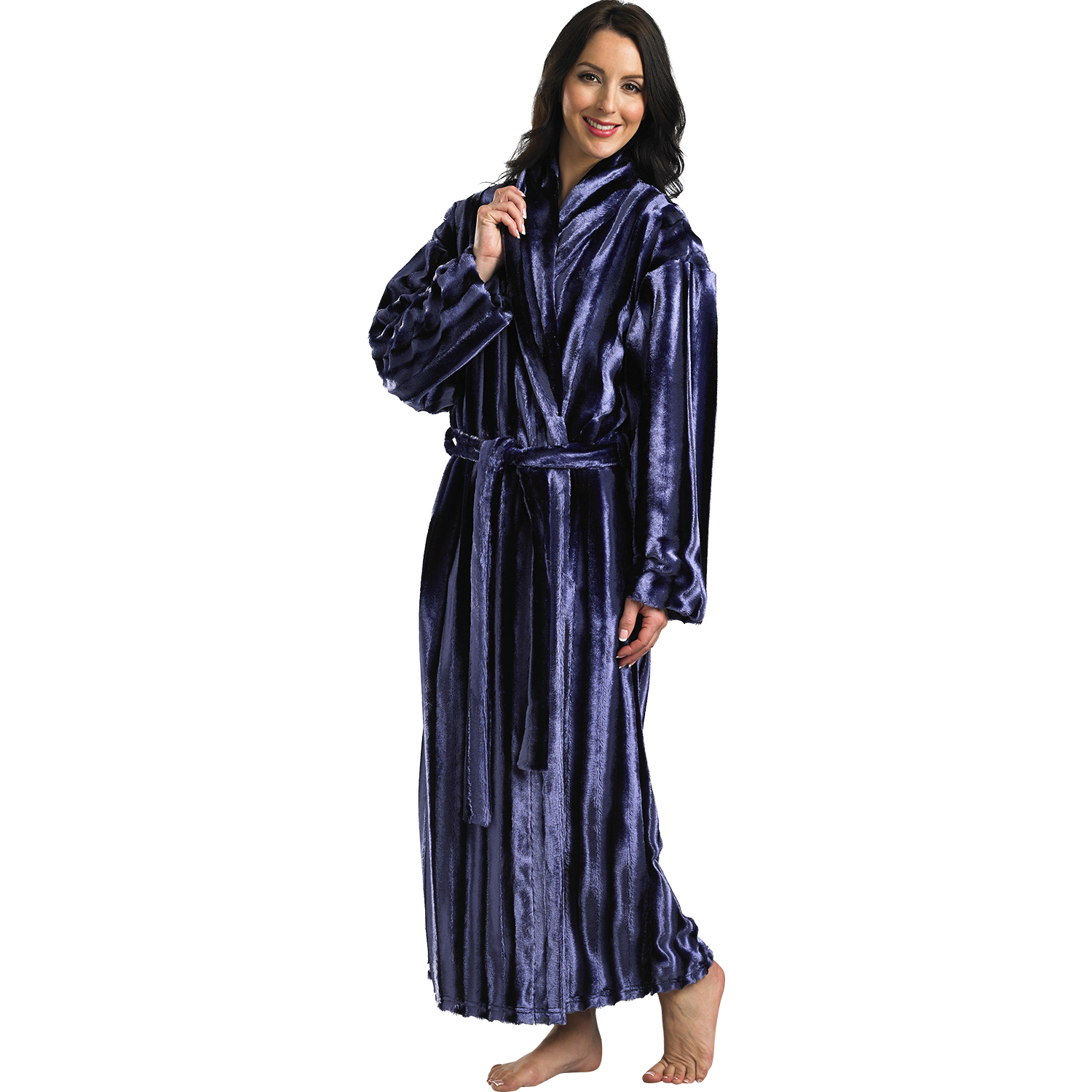 Ladies Slenderella Faux Fur Robe Luxury Satin Lined Ankle Length ...
