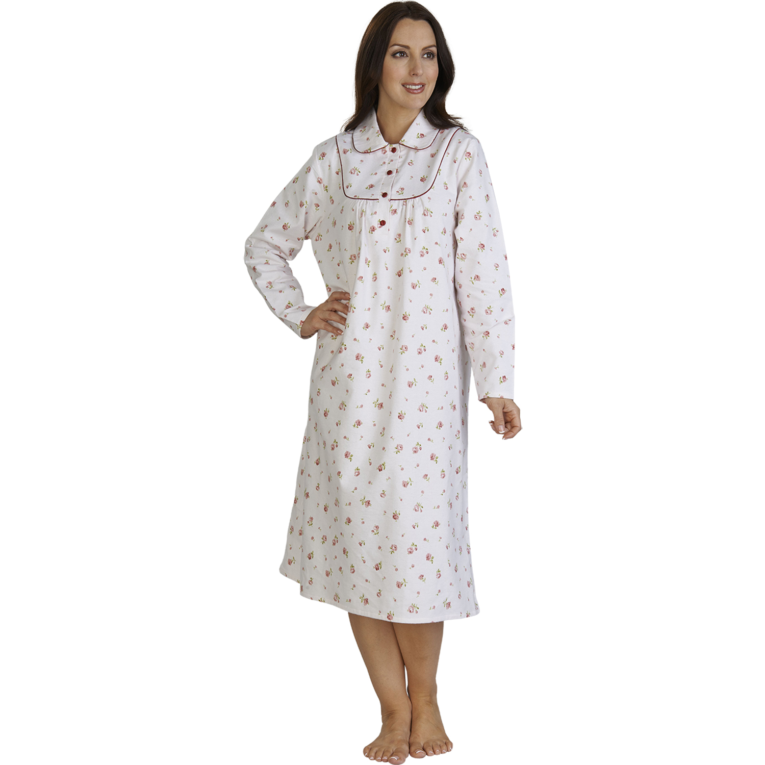 Ladies Floral Brushed Cotton Nightie Womens Slenderella Flannel ... a8ab2d075