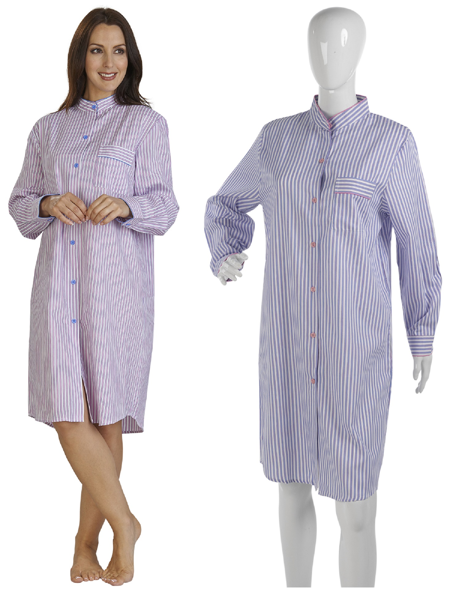 Ladies jacquard striped cotton nightie womens slenderella for Cotton shirts for womens online