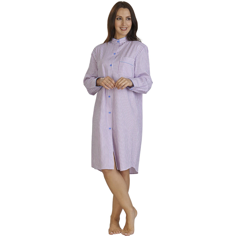 womens knee length nightshirt ladies striped slenderella. Black Bedroom Furniture Sets. Home Design Ideas