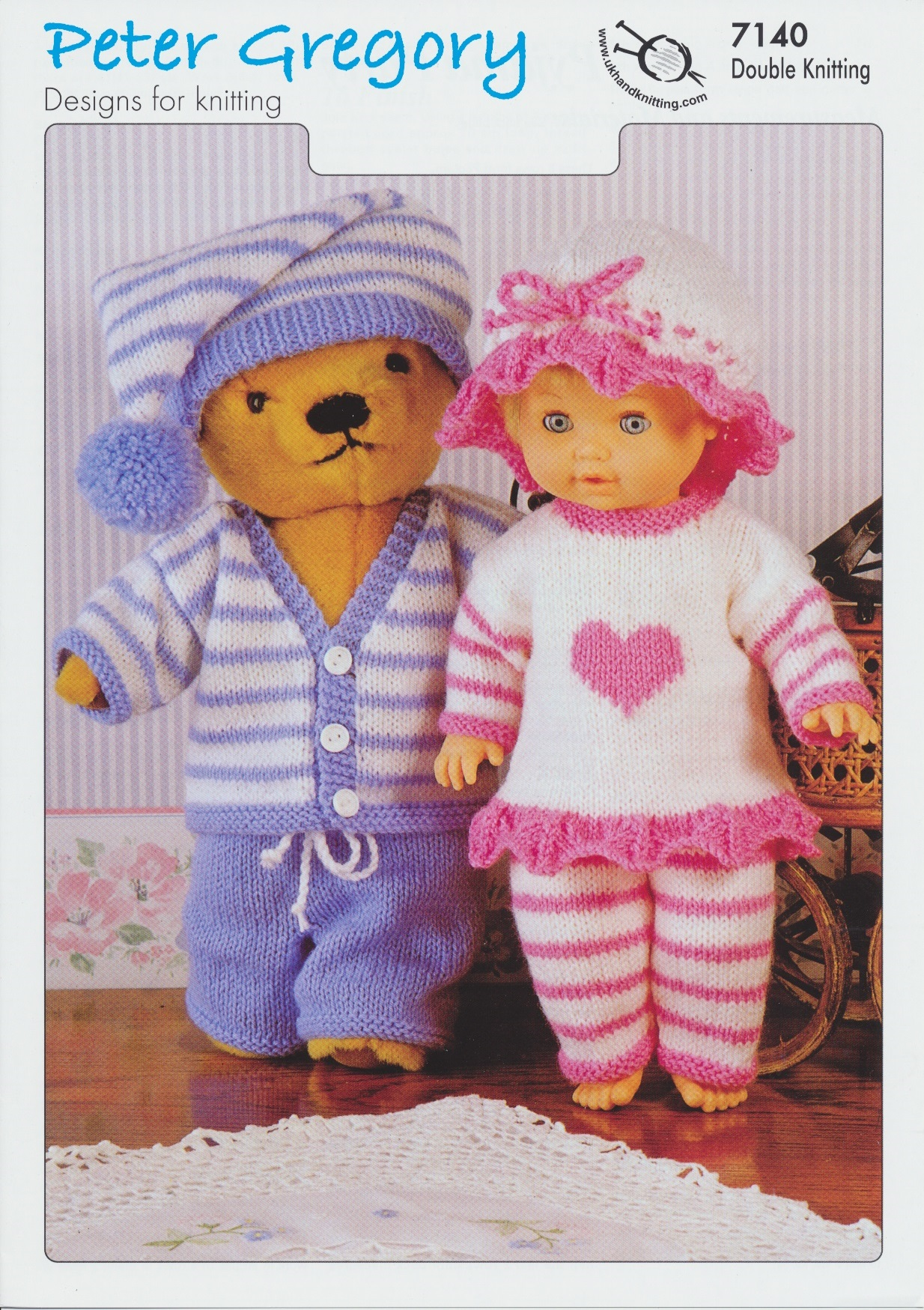 Scarves Knitting Patterns Free : Peter Gregory Double Knitting DK Pattern for Dolls Pyjama Party Outfits 7140