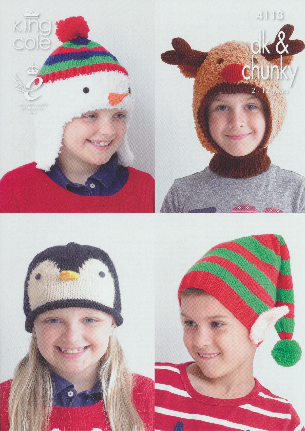 King Cole Penguin Knitting Pattern : DK & Cuddles Knitting Pattern King Cole Childrens Christmas Hats 2-12yrs ...