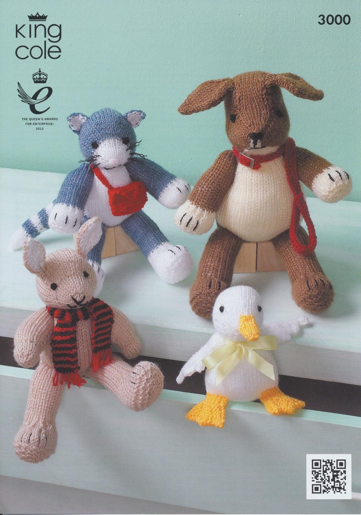 King Cole Penguin Knitting Pattern : King Cole Animal Characters Rabbit Duck Cat Dog DK Aran Knitting Pattern 3000...