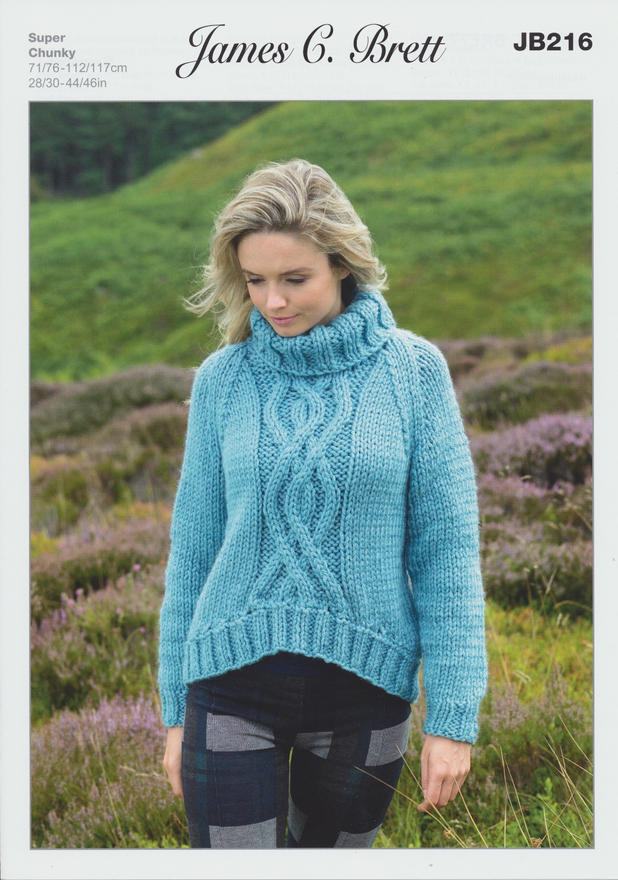 Super Chunky Jumper Knitting Pattern : Ladies Super Chunky Knitting Pattern Roll Neck Sweater James Brett JB216