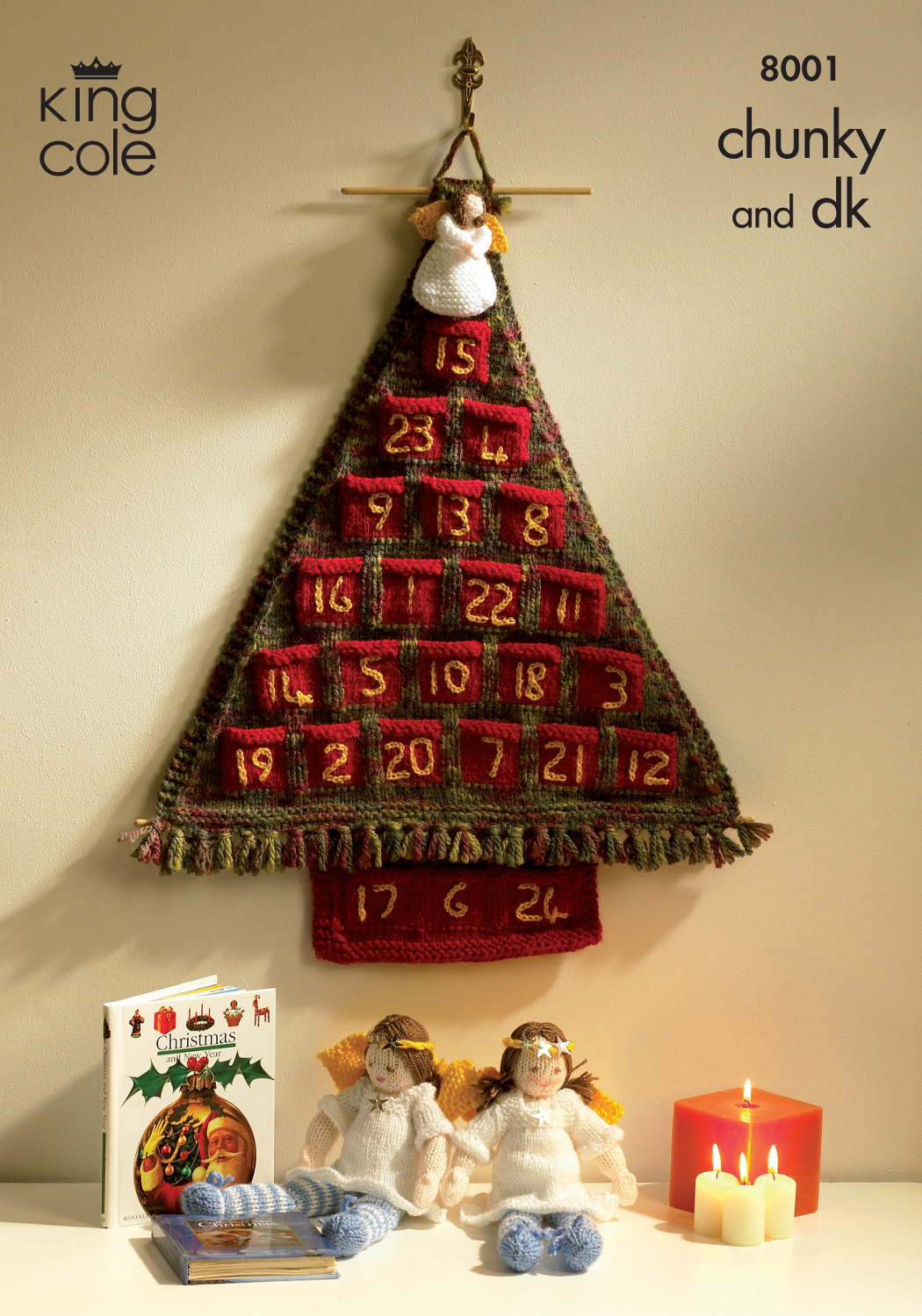 Knitting Pattern Christmas Advent Calendar : King Cole Christmas Chunky DK Knitting Pattern Advent Calendar Tree Angels 8001