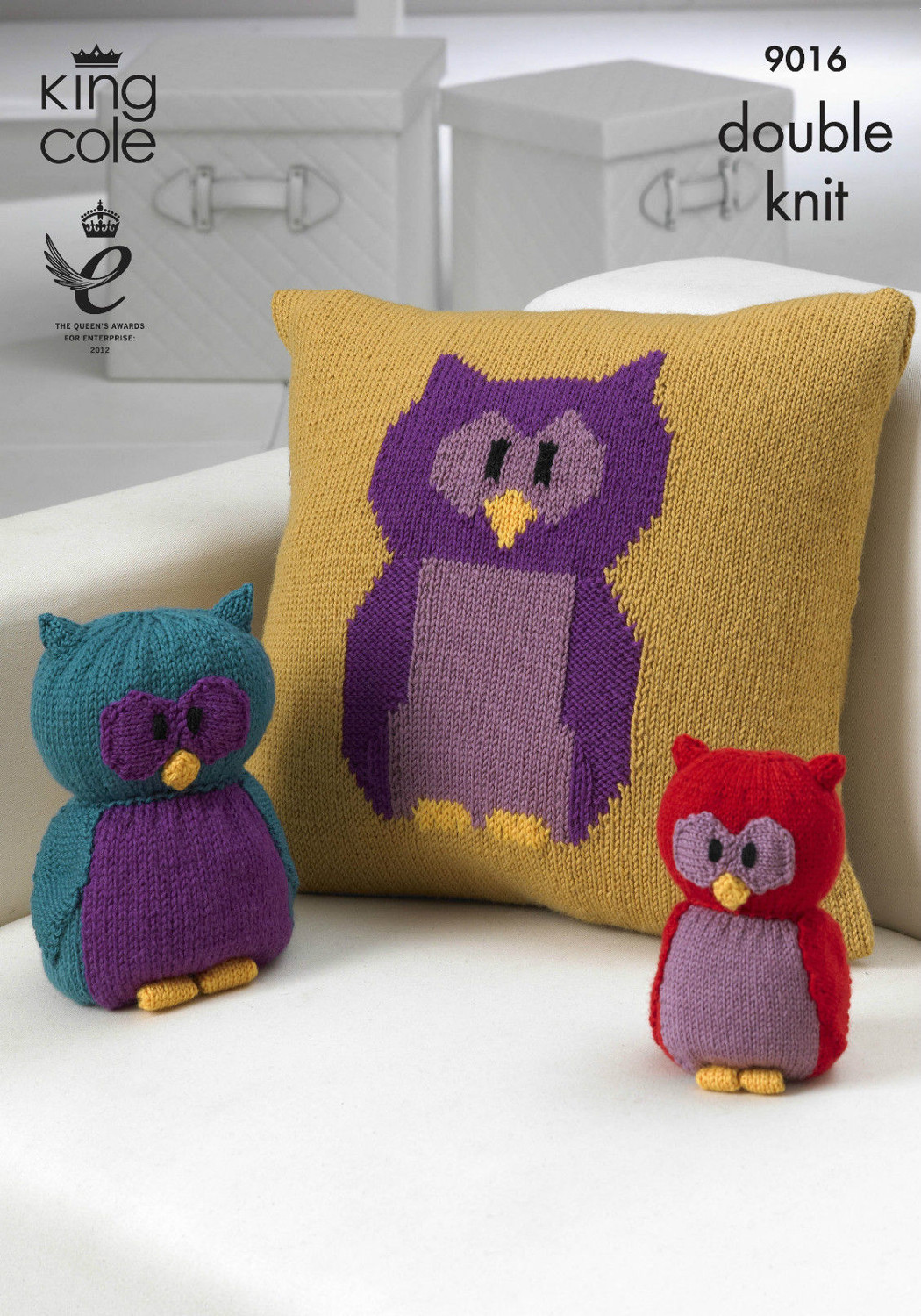 Owl Cushion Knitting Pattern : Owl Motif Cushion Toy & Doorstop Knitting Pattern King Cole Double Knit D...