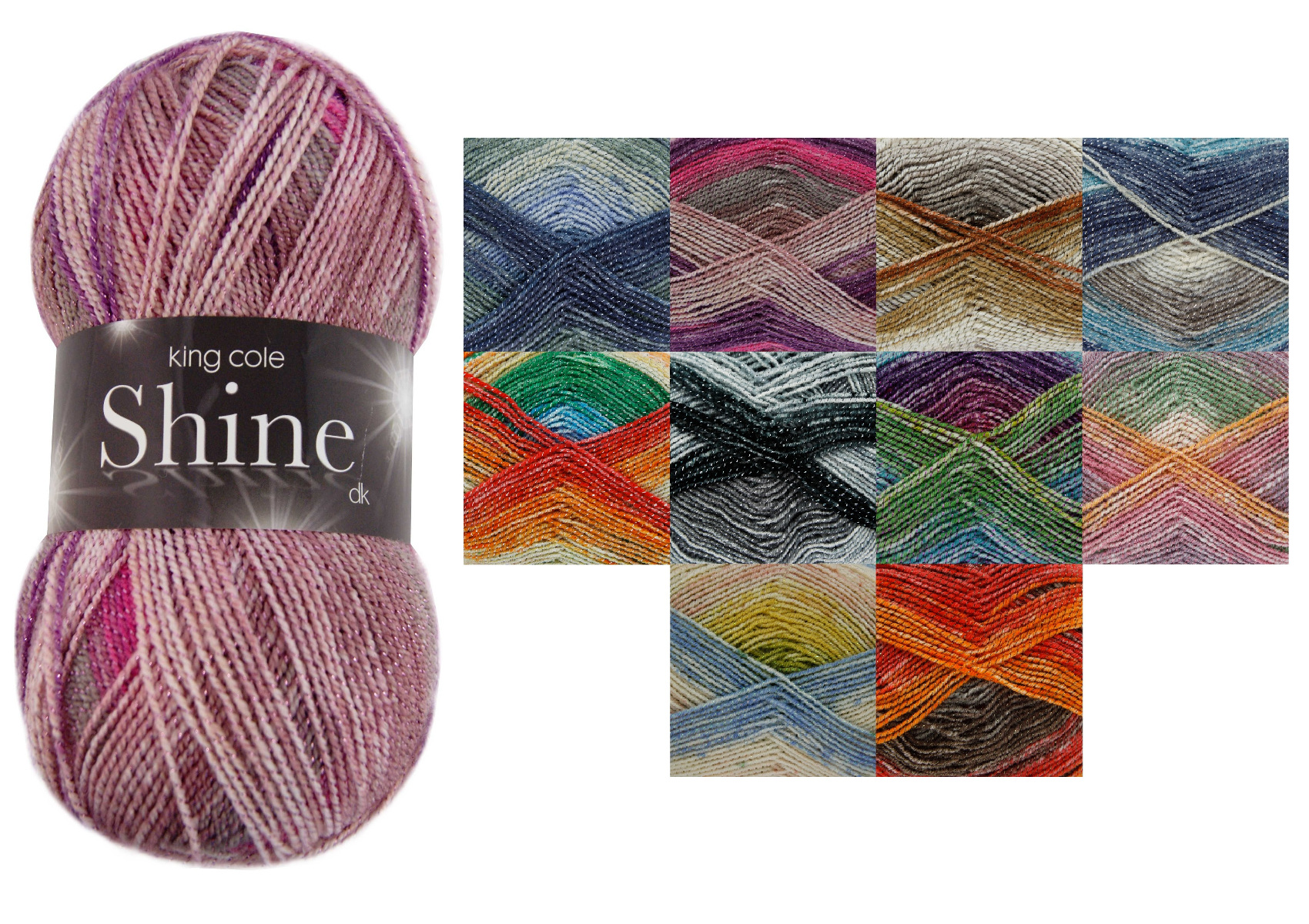 Knitting Patterns For Double Knit Yarn : 100g Ball Shine DK Double Knitting Wool King Cole Acrylic Blend Sparkle Yarn ...