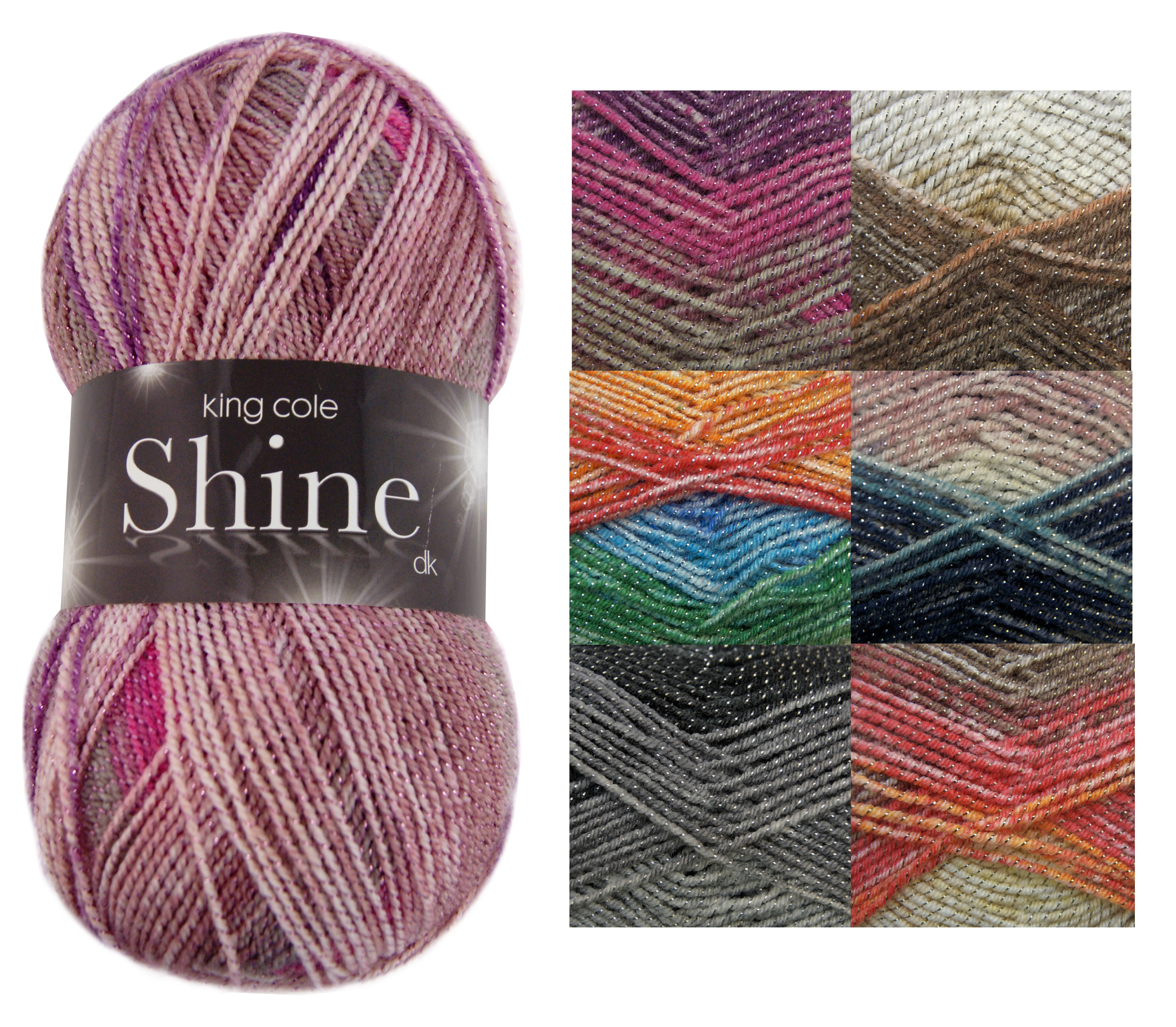 Knitting Patterns For Double Chunky Wool : 100g Ball Shine DK Double Knitting Wool King Cole Acrylic Blend Sparkle Yarn ...