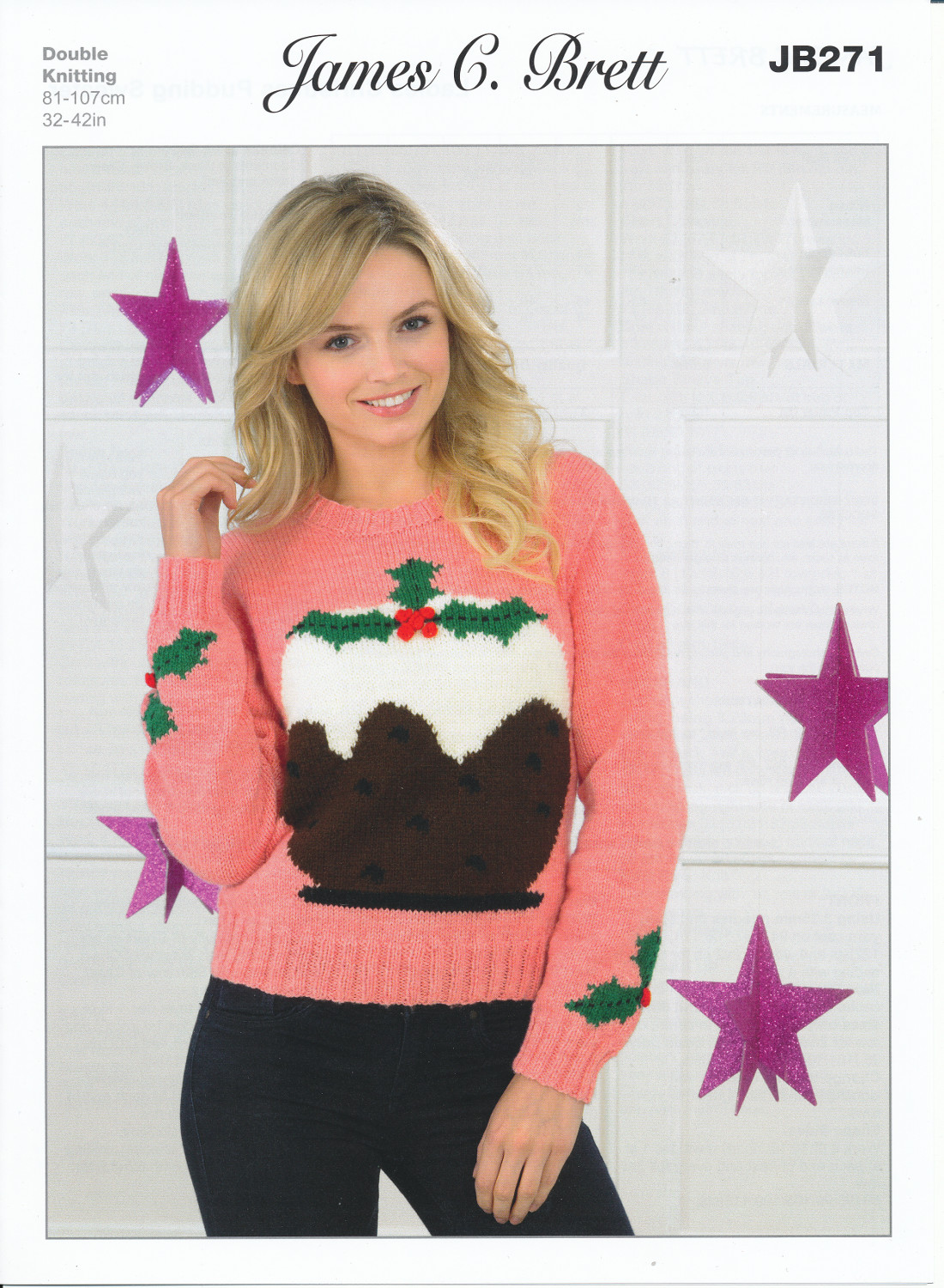 James Brett Double Knitting DK Pattern Ladies Christmas Pudding Sweater JB271...
