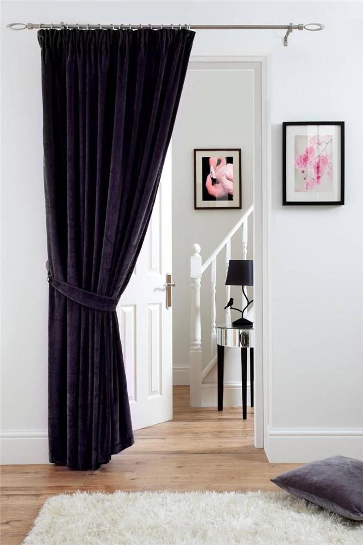 Deep Pile Velvet Door Curtain Pencil Pleat Fully