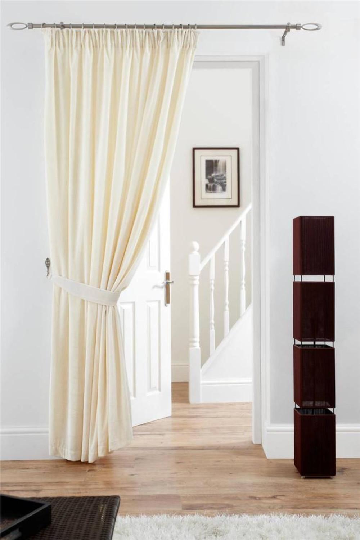 Deep Pile Velvet Door Curtain Pencil Pleat Fully Lined