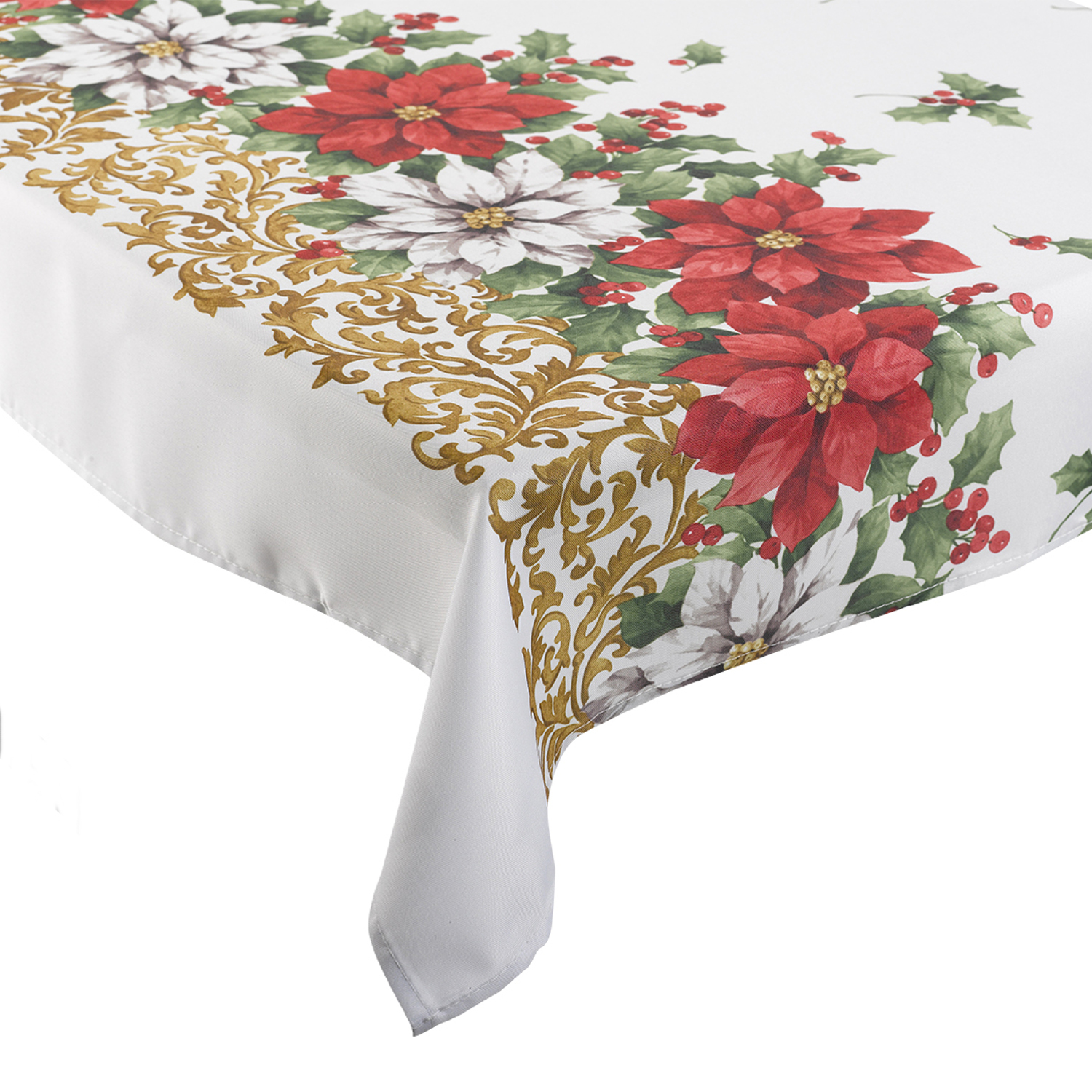 manita no l linge de table festive floral poinsettia polyester de no l nappe ebay. Black Bedroom Furniture Sets. Home Design Ideas