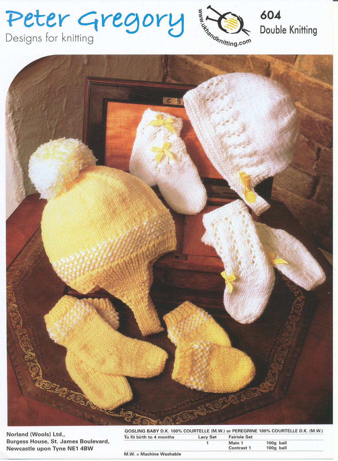 Scarves Knitting Patterns Free : Peter Gregory Double Knitting Pattern Baby Bonnet Hat Mittens & Sock Sets...