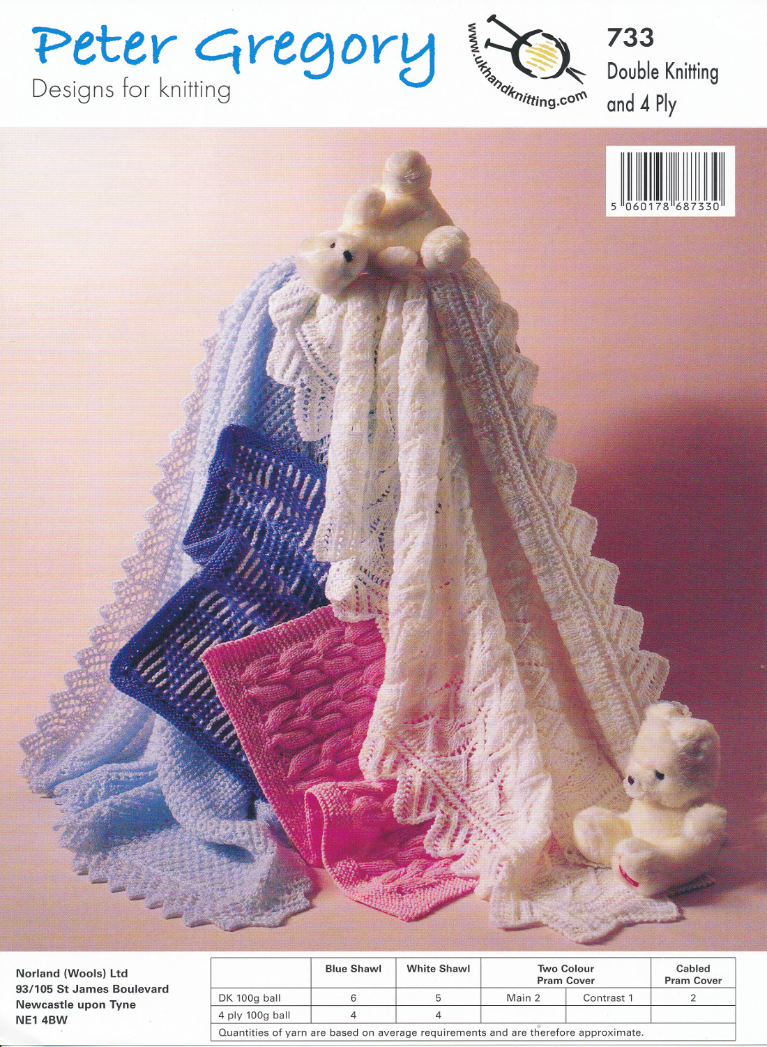 Scarves Knitting Patterns Free : Peter Gregory Double Knitting 4 Ply Pattern Lacy Cable Knit Shawl Pram Cover ...