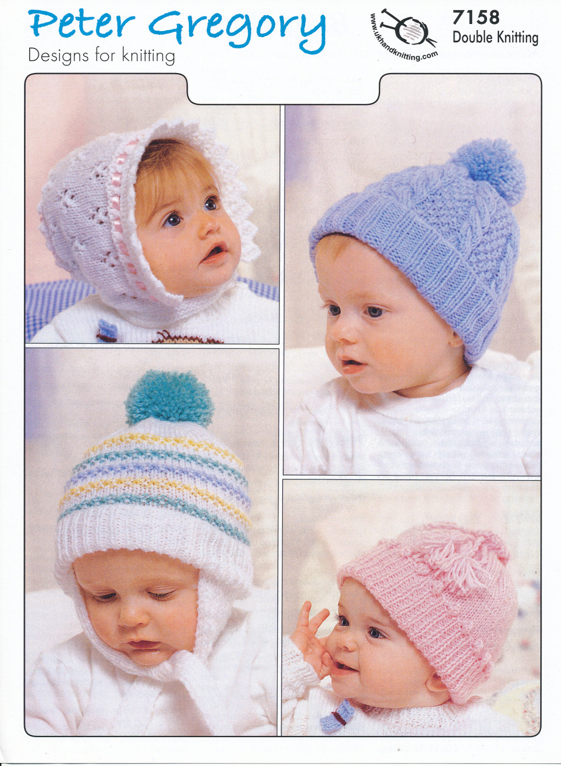 Scarves Knitting Patterns Free : Baby Double Knitting Pattern Baby Accessories Hats Bonnets Peter Gregory DK 7...