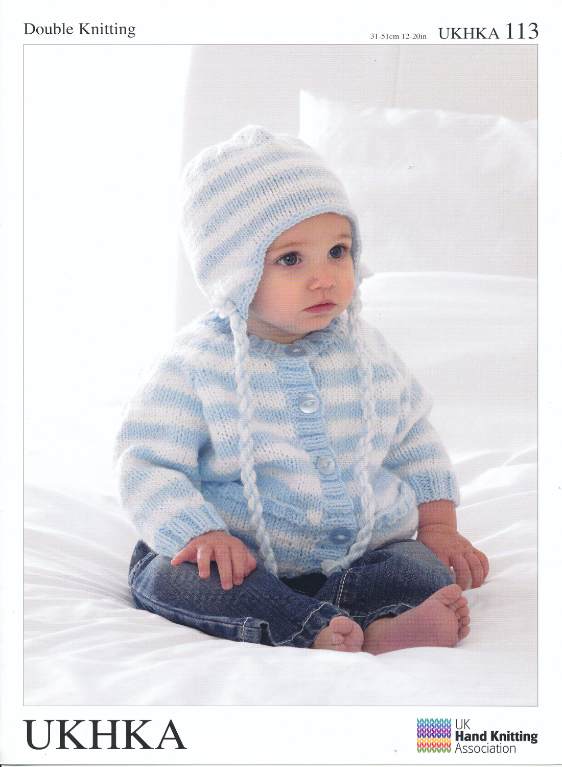 Double Knitting DK Pattern Baby Striped Cardigan & Tassel Helmet Hat UKHK...